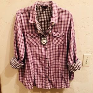 Soft Flannel Cowgirl Snap Front Shirt Size 1X